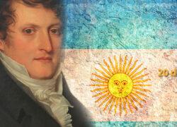 Bandera Argentina y Manuel Belgrano